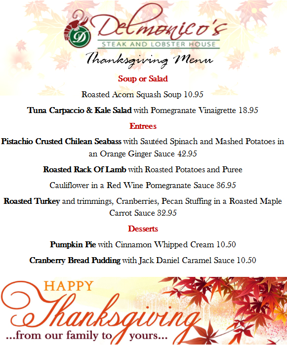 Delmonicos Steak and Lobster House Thanksgiving Menu - Delmonicos Steak and Lobster House